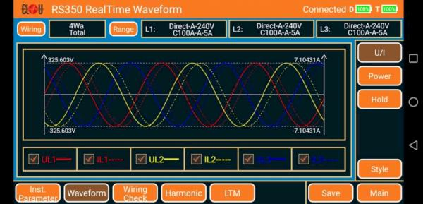 RS350 waveform analysis